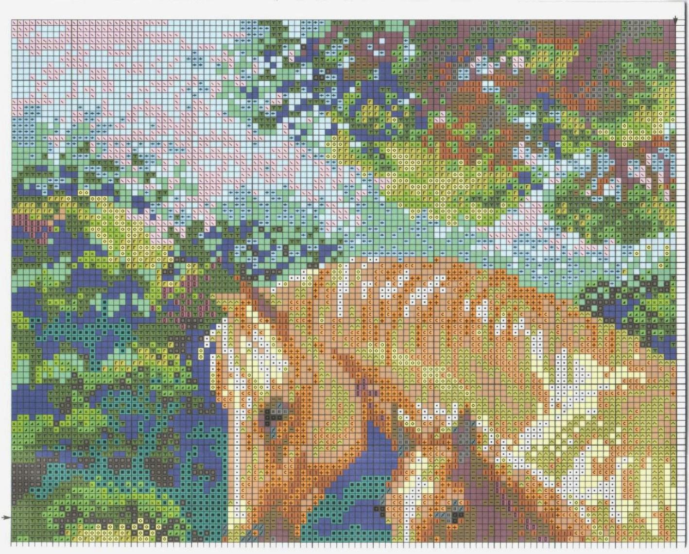 Лошадь с жеребенком схема вышивки фото 698