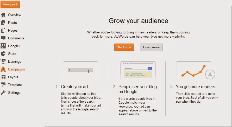 Campaigns in Blogger Dashboard