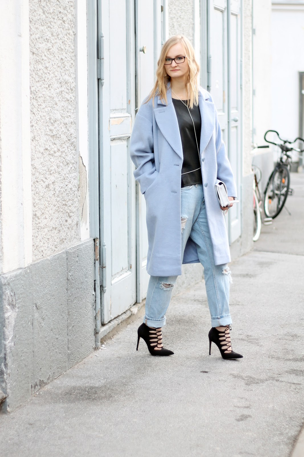 pastel blue and black