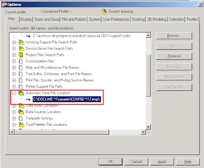 Opciones - Carpeta de archivos guardados automáticamente