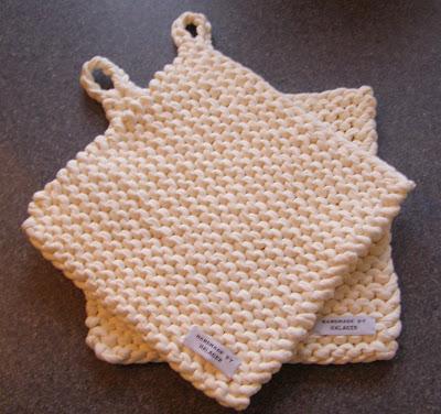 opskrift på strikkede grydelapper