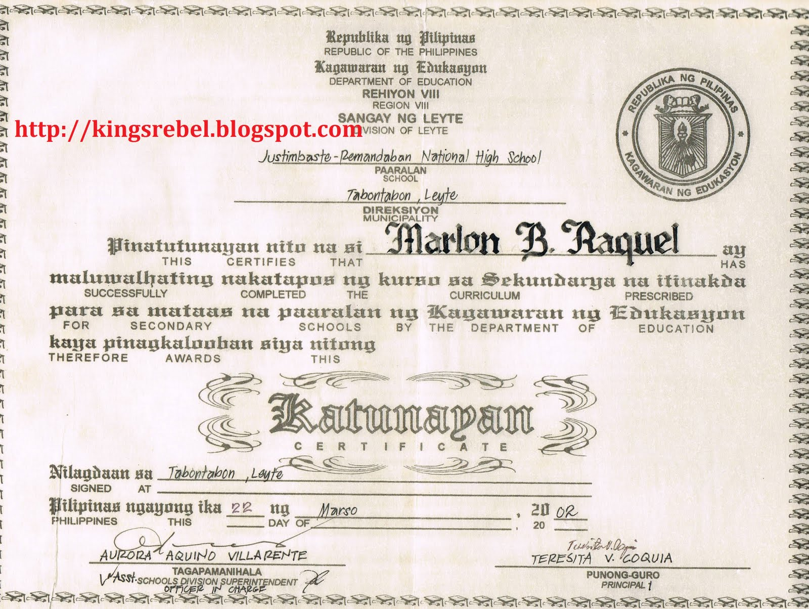 Tidbits and bytes example of high school diploma justimbaste tidbits and bytes example of high school diploma justimbaste remandaban national high school yelopaper Images