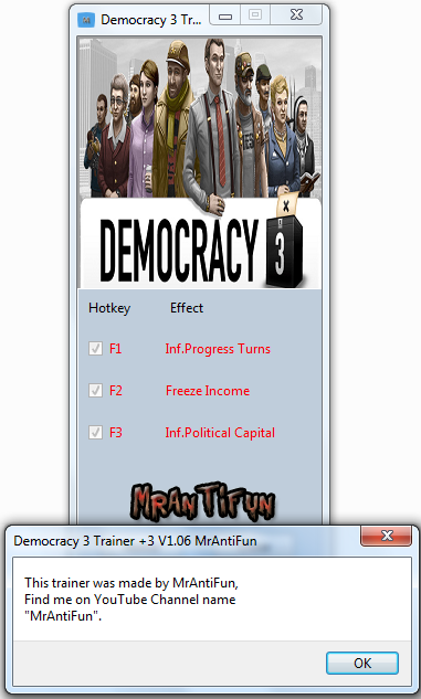 Democracy 3 Trainer +3 V1.06 MrAntiFun