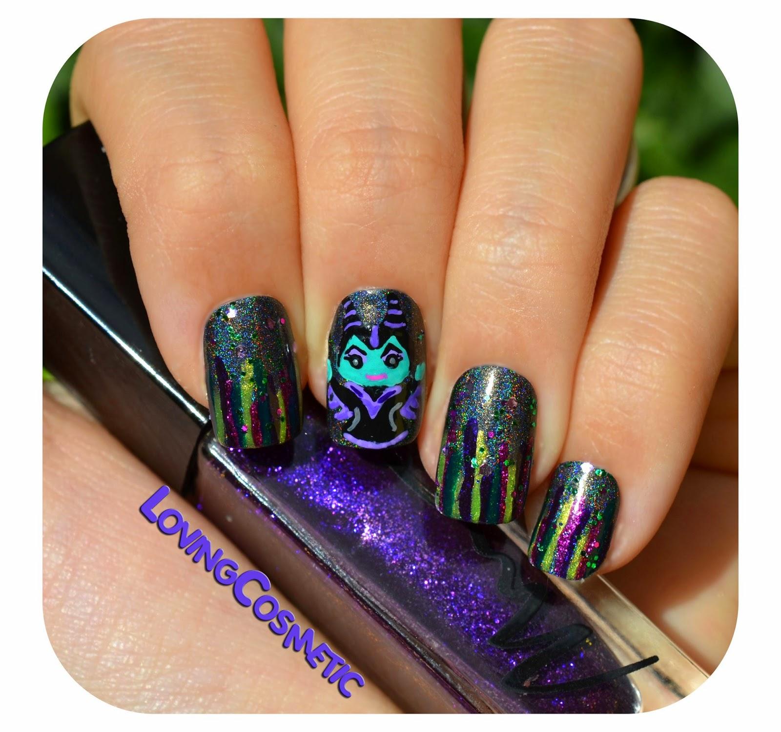 Uñas malefica maléfica maleficent nails nail art marionnaud esmalte uña kawaii