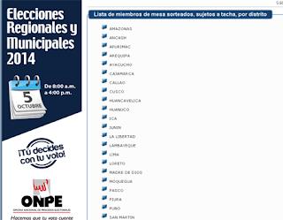 Consultar si eres miembro de mesa para las Elecciones Municipales y Regionales 2014