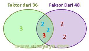 Gambar: FPB dari 36 dan 48 (diagram)