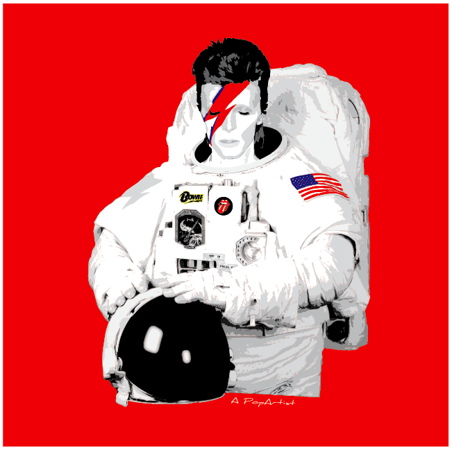 Remy PopArt David Bowie Space oddity Red edition