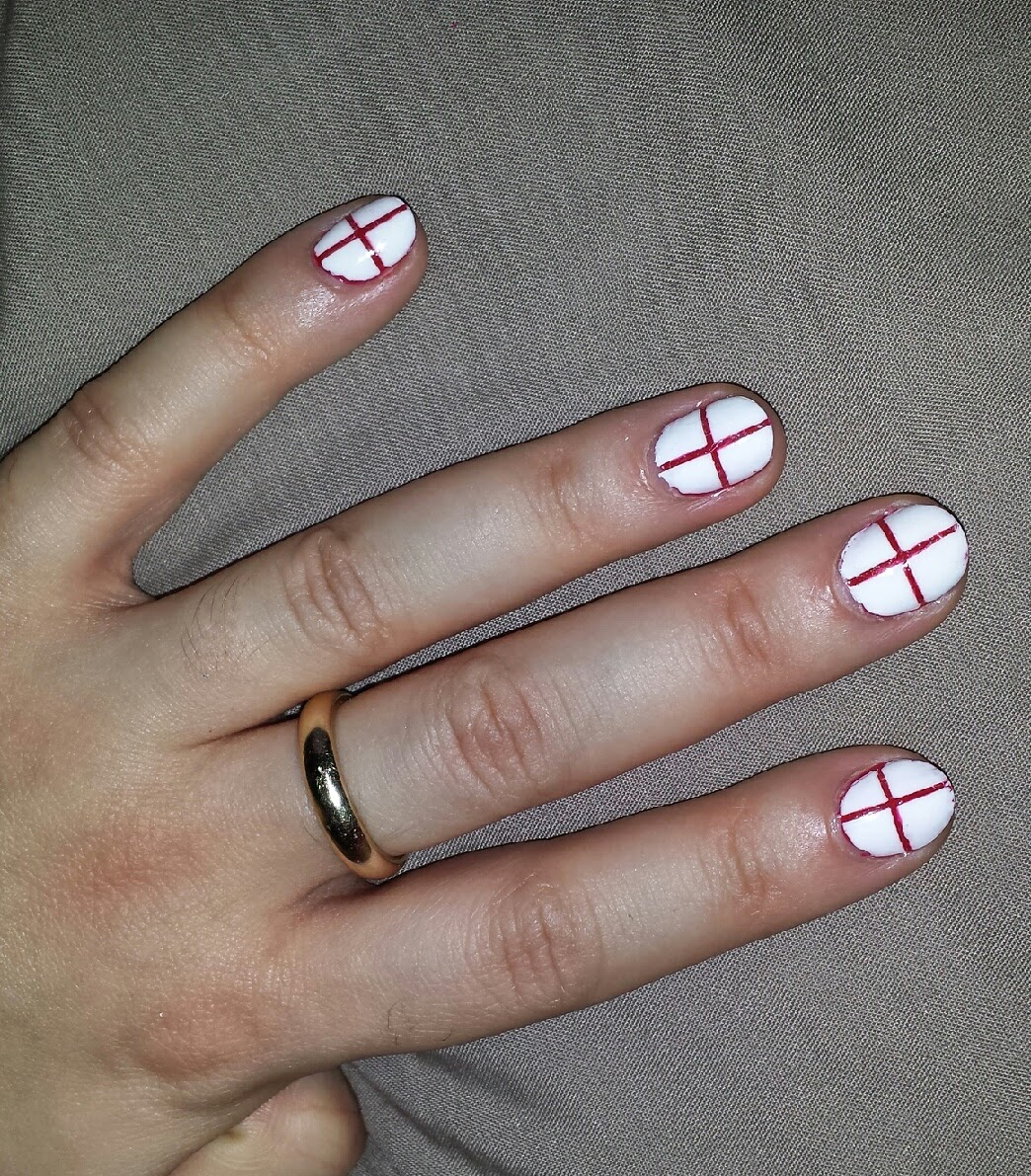 England Flag World Cup Nail Art