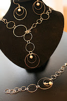 Infinity: necklace, bracelet, earrings set - sterling silver, freshwater pearls, wire wrapping :: All the Pretty Things