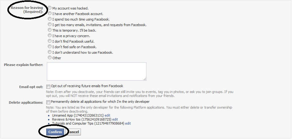 how to leave facebook account