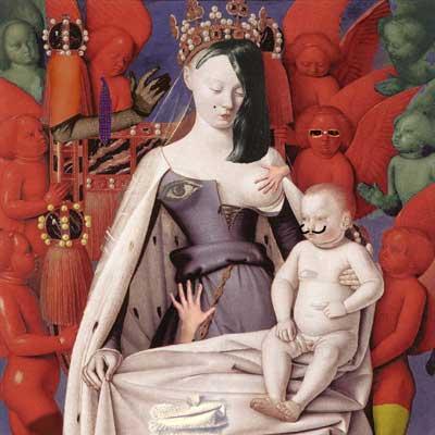 Fotomontaje realizado por pepeworks: una versión surreal del cuadro La Virgen con el niño, de Jean Fouquet