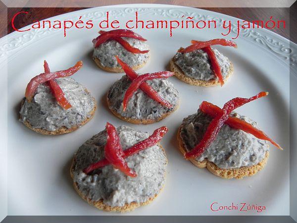 Canapés De Champiñones Y Crujiente De Jamón