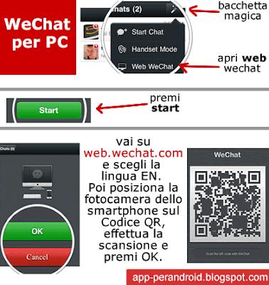 app per android wechat italiano per pc dal browser web