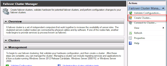 Create a cluster in windows server 2012