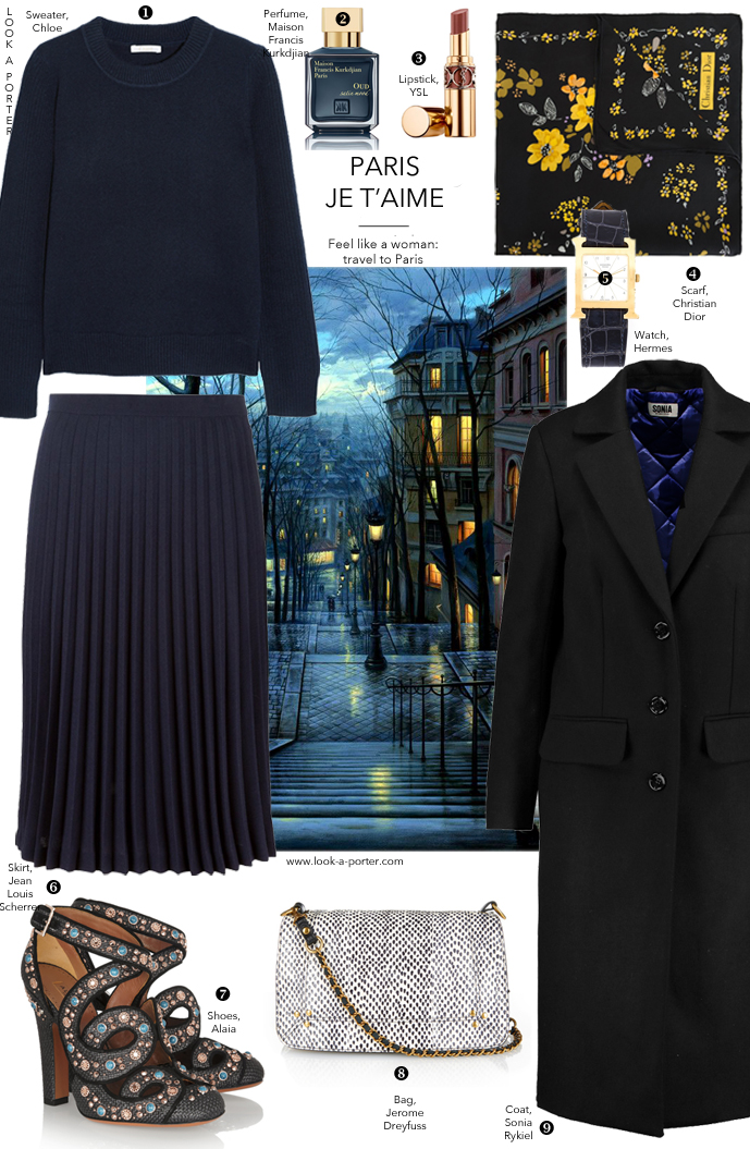 via www.look-a-porter.com style & fashion blog / Parisian style outfit inspiration / Sonia Rykiel, Chloe, Jean Louis Scherrer, Alaia, Dior, Hermes