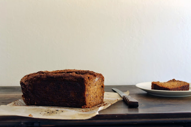 Sliced banana bread with loaf
