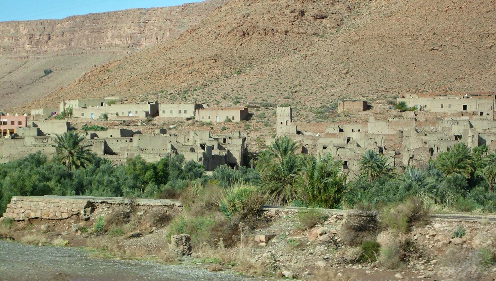 montagne couleur maisons maroc palmiers