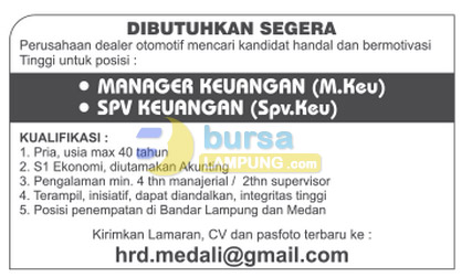 Lowongan Kerja Manager dan Supervisor Keuangan