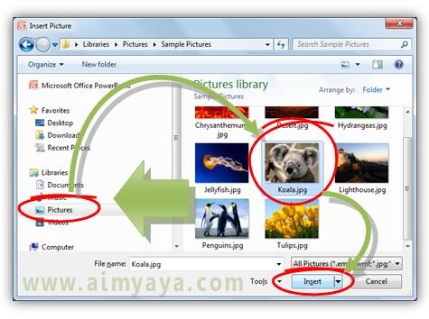 Gambar:  Memilih file gambar yang akan disisipkan ke dalam slide presentasi powerpoint