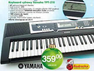 Keyboard cyfrowy Yamaha YPT-210 z Biedronki ulotka