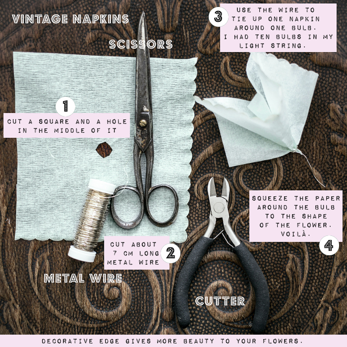 Easy DIY - flower string light of vintage napkins by gretchen gretchen