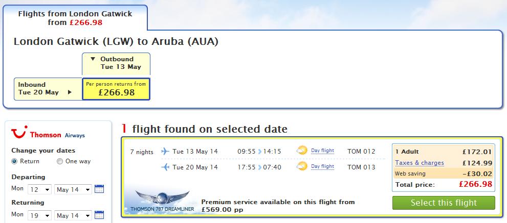 London Gatwick (LGW) Aruba (AUA) za 266,98 GBP