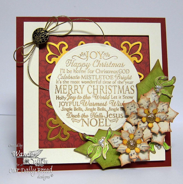 Stamps - Our Daily Bread Designs Noel Ornament, Mistletoe Ornament, ODBD Custom Matting Circles Dies, ODBD Custom Peaceful Poinsettias Dies