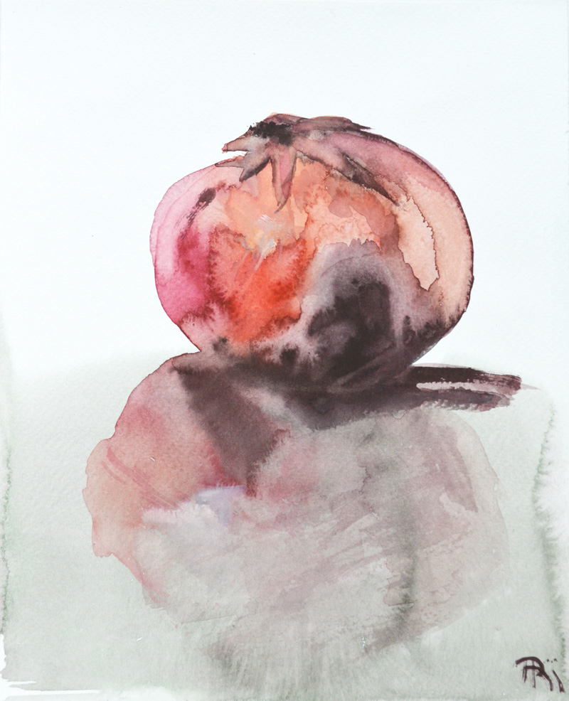 pomegranate painting, minimal watercolor, delicate, reflection in glass, intense red and brown, pastel green, fragility