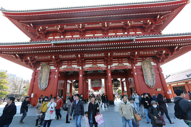 The rear view of Hozomon Gate before heading into the main temple's hall of Asakusa Sensoji Temple in Tokyo, Japan