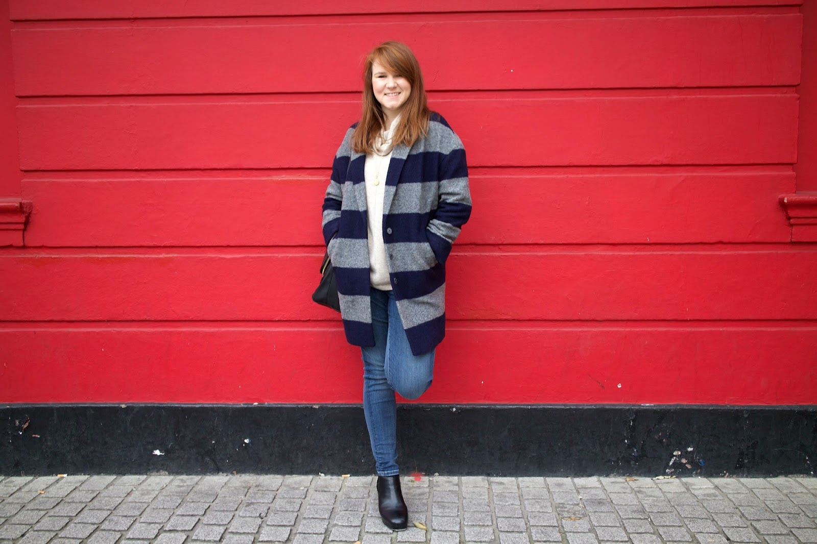 boden tilly coat navy grey stripe