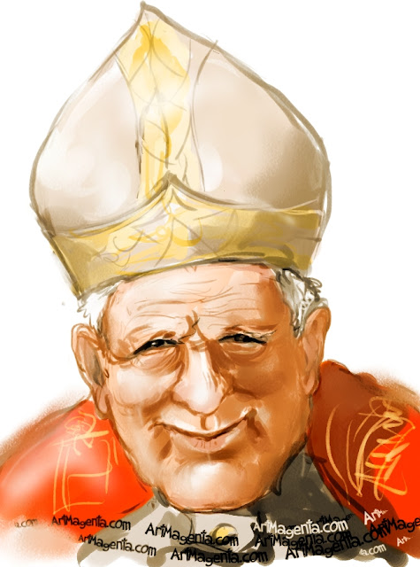 Pope John Paul II caricature cartoon. Portrait drawing by caricaturist Artmagenta