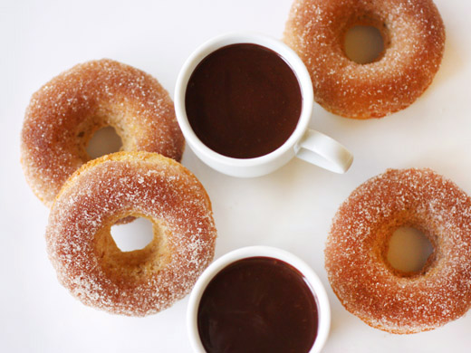 ... is cooking: Cinnamon Baked Doughnuts and Mexican-Style Chocolate Sauce