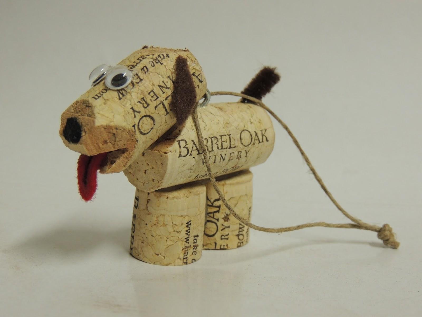 Cork to barrel cork ornament dog for Cork craft
