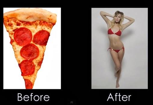 Modelo convertida en pizza utilizando Photoshop