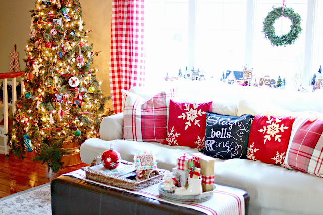 Red check curtain, Pottery Barn plaid pillows, chalk writing DIY pillow and pre lit Christmas tree-www.goldenboysandme.com