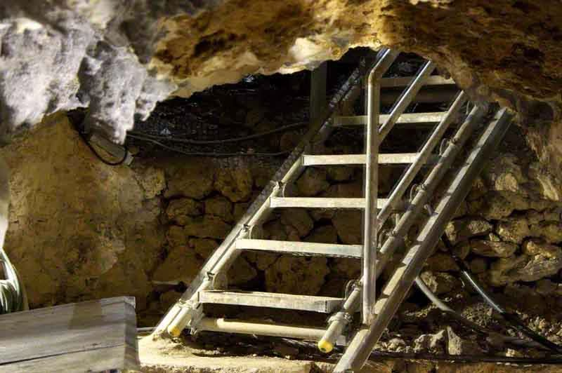stairs leading out of cave