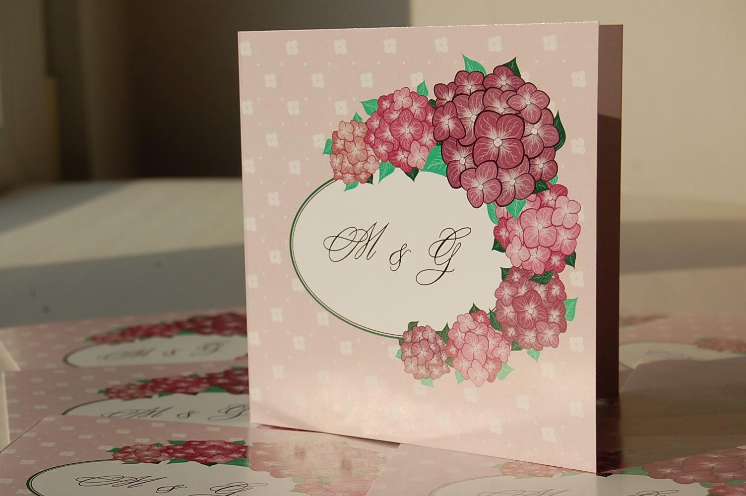zaproszenia ślubne z hortensją
