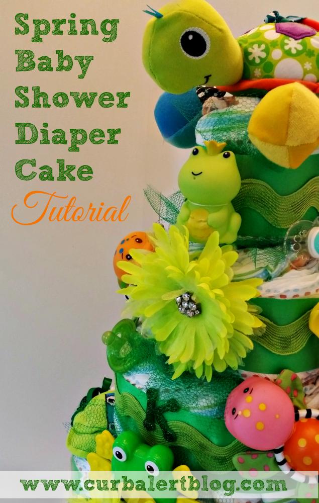 curb alert spring baby shower diaper cake tutorial