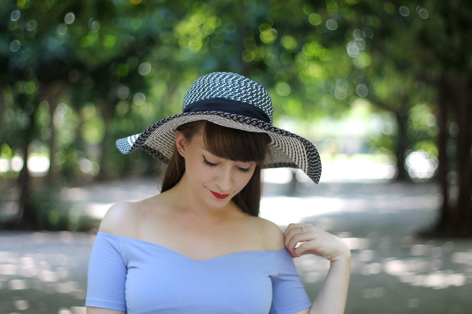 Black and white floppy sunhat and bardot top