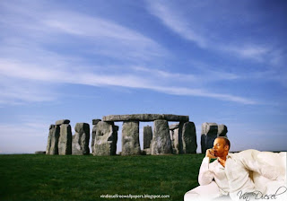 Desktop Wallpaper of Vin Diesel Resting after action movie in Stonehenge Stone Monument Desktop Wallpaper