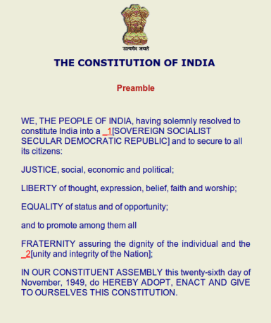 Upsc Csat 2013 The Preamble Of Indian Constitution