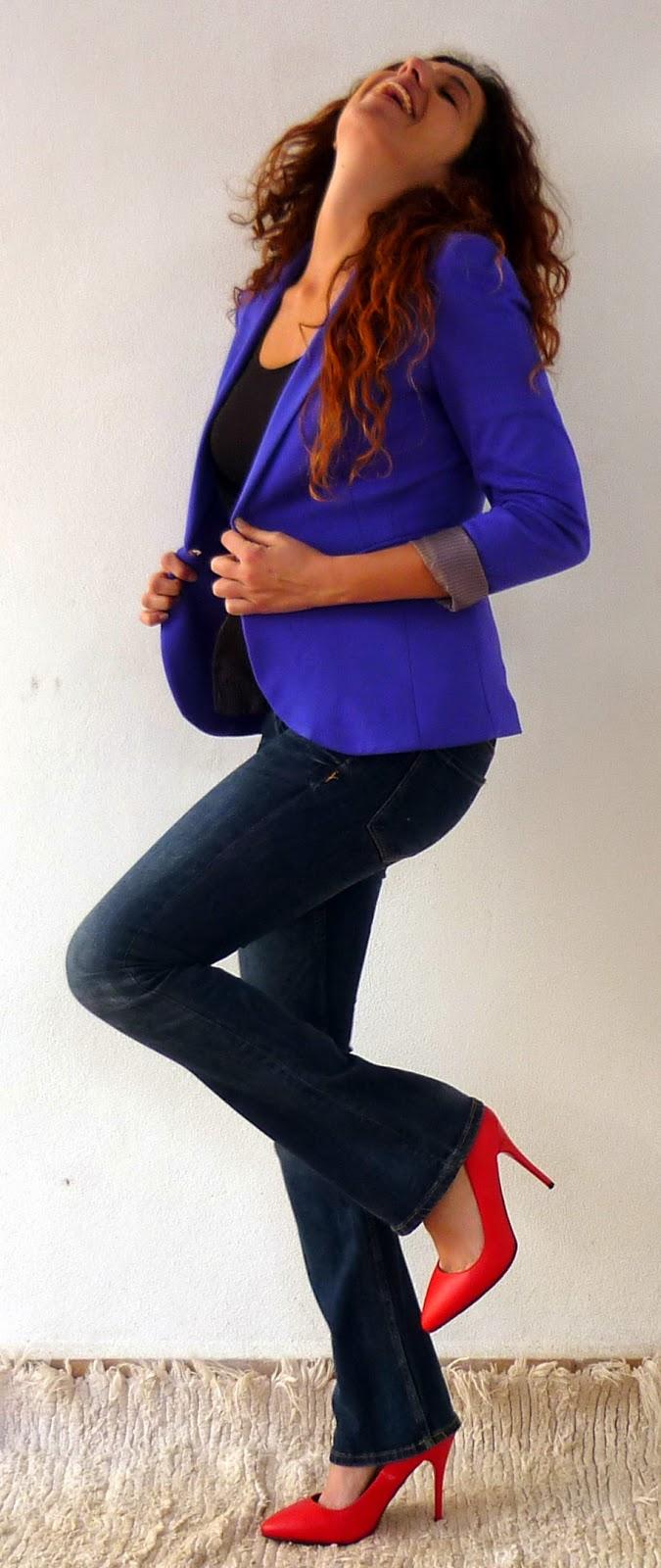 blazer punto lila