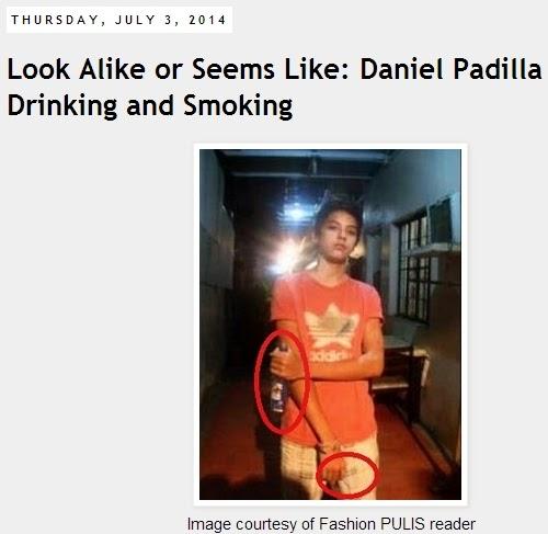 Daniel Padilla holds beer, cigarette