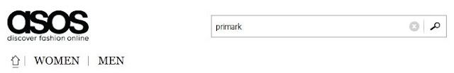Search box for Primark clothing on ASOS