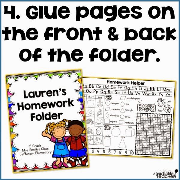 kindergarten homework folder cover sheet