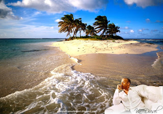 Desktop Wallpaper of Vin Diesel Resting after action movie in Beautiful Island Wallpaper