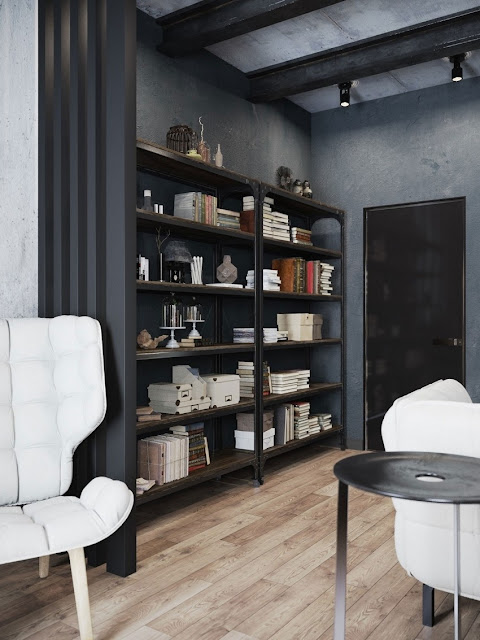 black and white reading room design with modern shelf