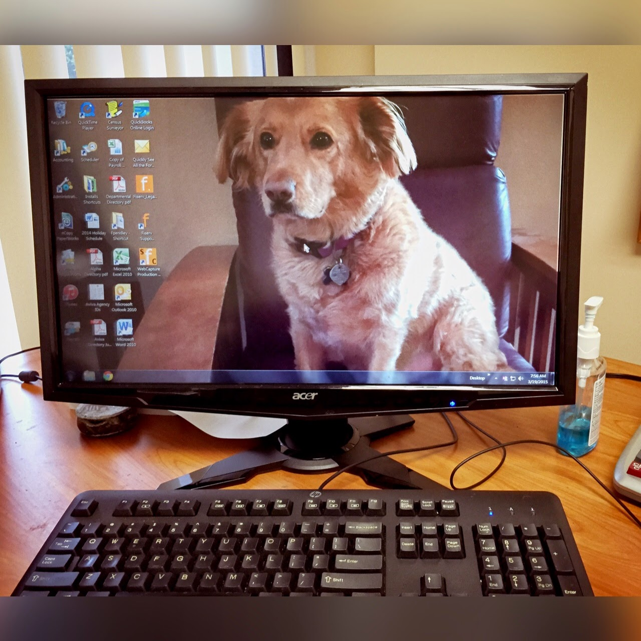 the desktop on my desk at my office