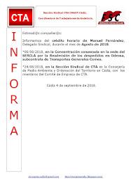 C.T.A. INFORMA CRÉDITO HORARIO MANUEL FERNANDEZ, AGOSTO 2018