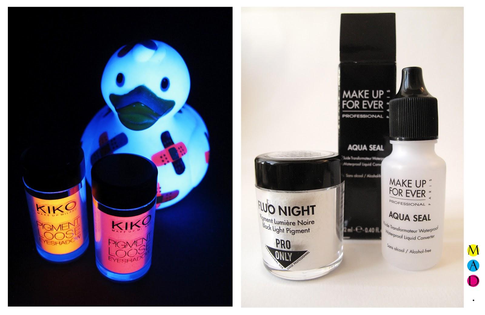 Pigments fluo kiko \u0026 MUFE, et Aqua Seal pour mélanger aux pigments.
